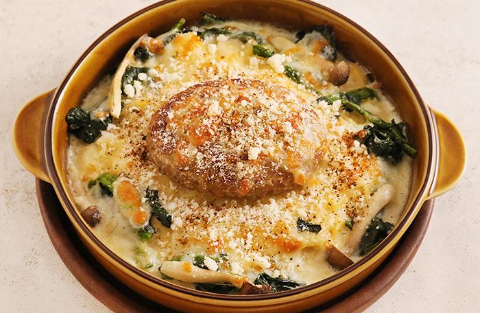 豆乳クリームのチーズハンバーグドリア