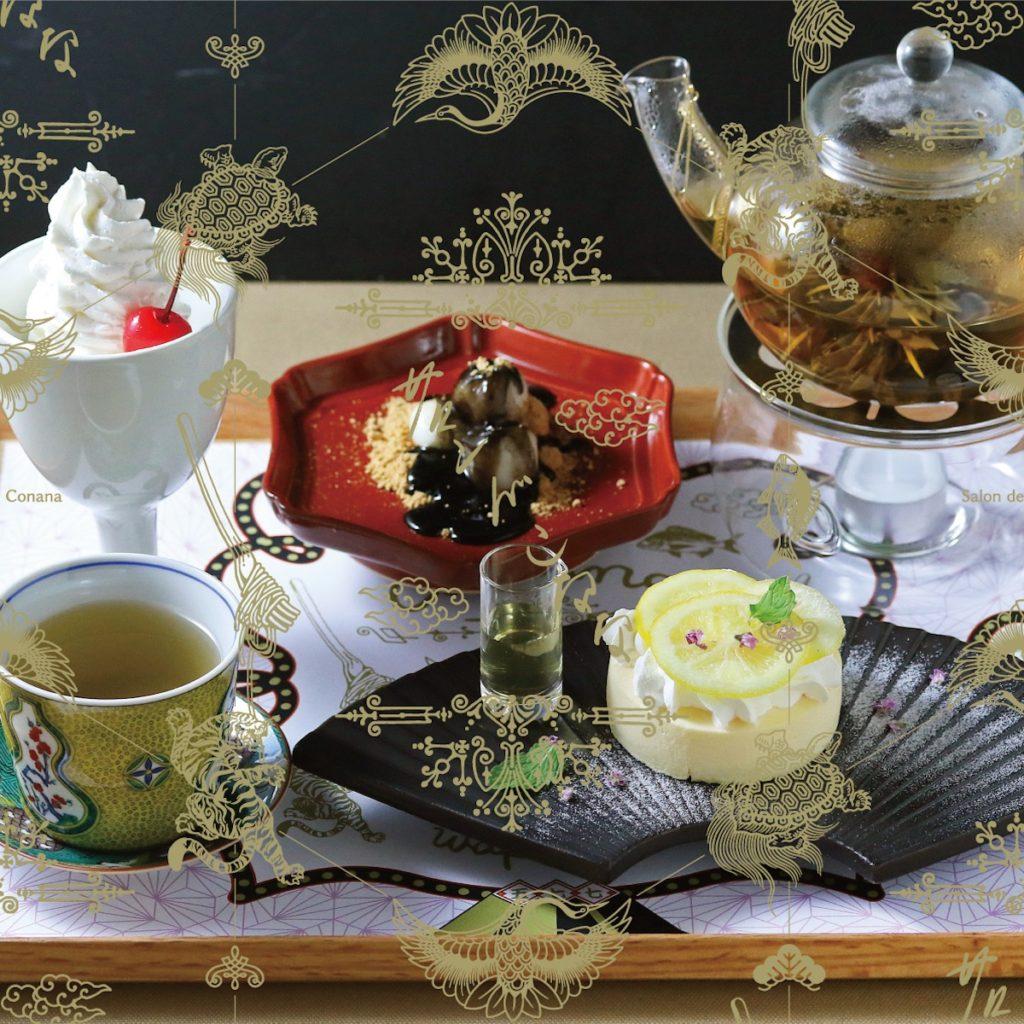 """""""鶴の膳"""" 選べる3種の甘味とお茶のセット 1,080円~"""